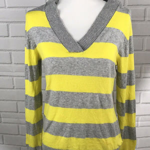 Gap Womens Yellow Gray Striped Veck Sweater Size M